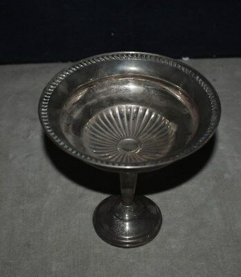Beautiful Vintage Heavy Sterling Silver Tall Footed Compote Bowl