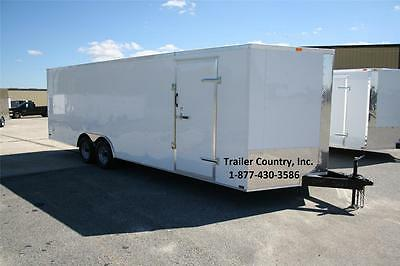 New 8.5 X 24 8.5X24 Enclosed Cargo Motorcycle Snowmobile Atv 4-Wheeler Trailer