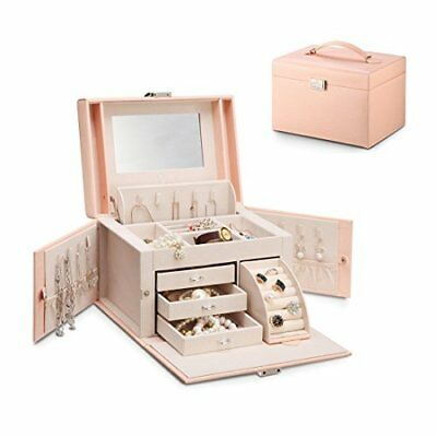 Faux Leather Jewellery Box Pink Rose V14004 By Vlando