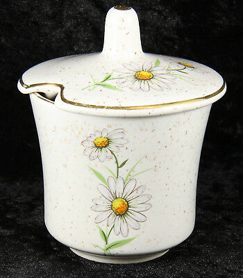 Kernewek Daisy pattern china preserve pot  3 inches cornish collectable
