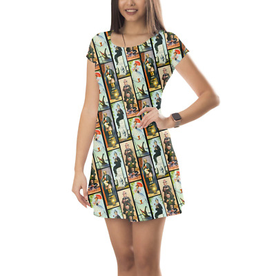 Haunted Mansion Stretch Paintings Short Sleeve Dress