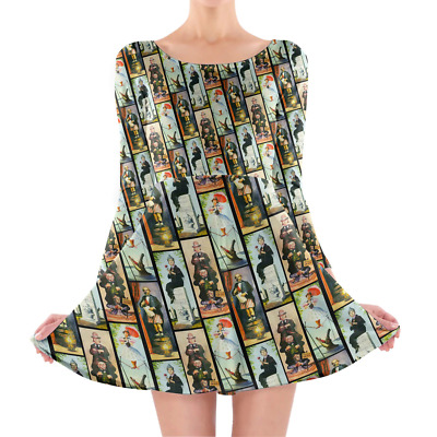 Haunted Mansion Stretch Paintings Longsleeve Skater Dress