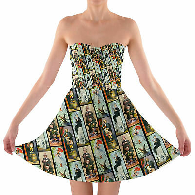 Haunted Mansion Stretch Paintings Sweetheart Strapless Skater Dress