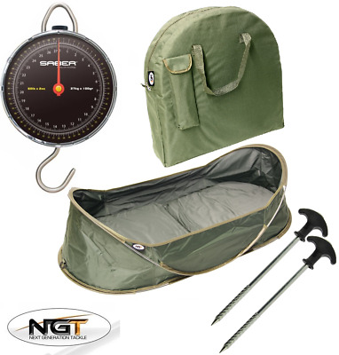 Ngt Carp Fishing Pop Up Cradle Unhooking Mat With Bag + 27K Saber Fishing Scales