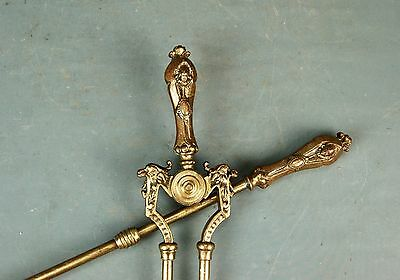 English? Victorian Brass 2pc Fire Tool Set Griffin Lady Head Tongs Shovel 19th c