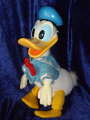 Extremely rare old Disney Vinyl rubber hard face Donald Duck soft toy plush 14""