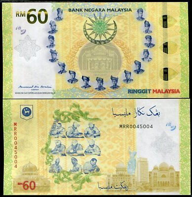 MALAYSIA 60 RINGGIT 2017 / 2018 COMM. 60TH Malaya Independence Agreement UNC