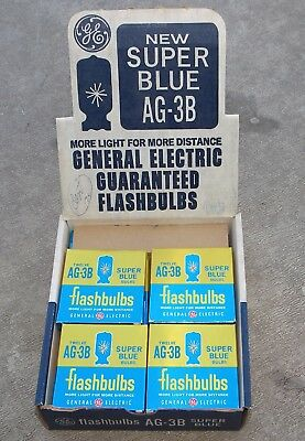 144 Vintage GE AG-3B Blue Flashbulbs Flash bulbs full case