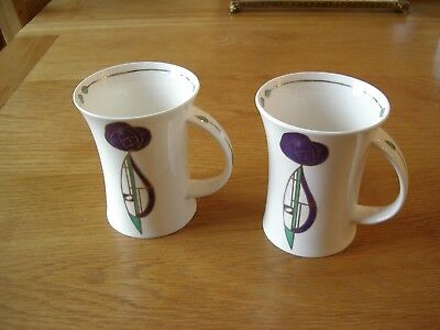 2  Dunoon Scotland Coffee Mugs ---Helensburgh Pattern-In The Style Of Mackintosh