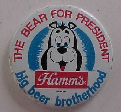 1960s Era Hamm's Beer cartoon mascot Bear for President cartoon pin-Very Cute!