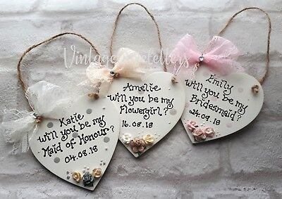 Personalised Will you be my Bridesmaid/Maid of H/ Flower Girl Wooden Plaque Gift