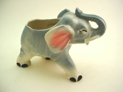 VINTAGE BLUE GRAY ELEPHANT PLANTER POT FIGURINE circa 1958