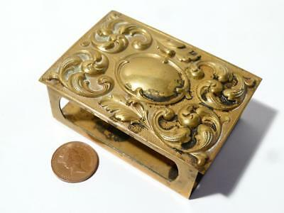 Antique Vintage Brass DESK Matchbox Holder Rococo Top Blank Cartouche Large Size