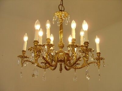Vintage French Chandelier Gold Bronze Brass Ceiling Lamp Fixtures Antique Old