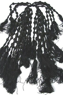ANTIQUE 1800s VICTORIAN LOT 30 BLACK KNOTTED TASSELS
