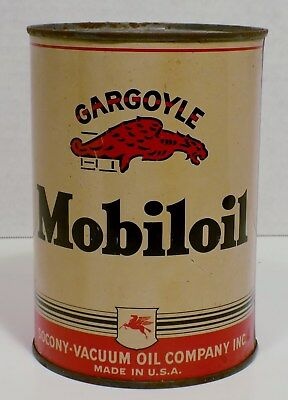 Vintage Gargoyle MOBILOIL Z.A. A S.A.E. 30 One Quart Metal Oil Can Unused FULL