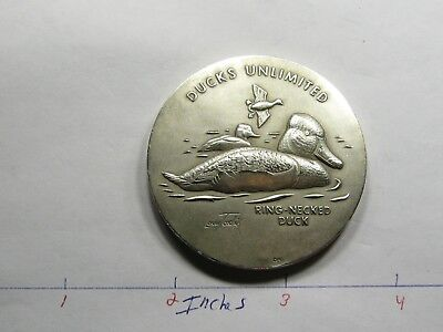 2.7 Oz Ring-Necked Duck Unlimited Medallic Art High Relief Rare 999 Silver Coin