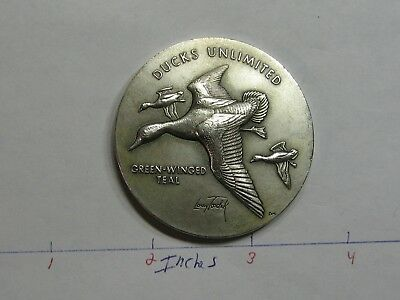 2.7 Oz Green-Winged Teal Duck Unlimited Medallic Art High Relief 999 Silver Coin