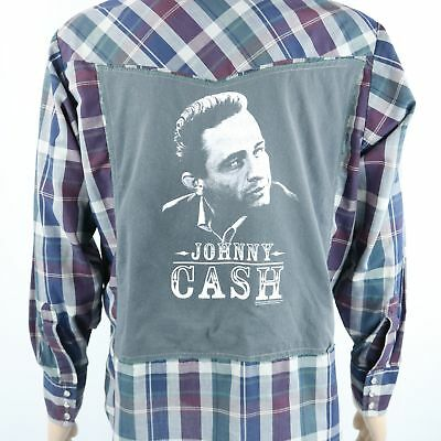 Johnny Cash  Pearl Snap Shirt Ely Cattleman L/S Western Plaid Red Green Sz LARGE
