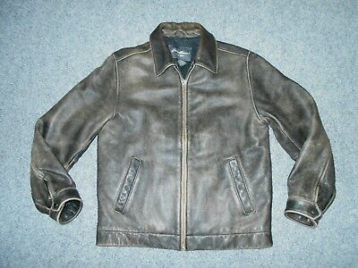 Eddie Bauer Vintage Mens Small Insulated Rugged Brown Leather Jacket          B5