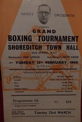 Boxing Programme - Shoreditch Town Hall - Brian Brazier V Jim Mitchell 1966