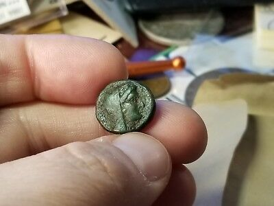 KORKYRA, AE16 3rd CENTURY BC. (3.95 gm). VEILED HEAD DIONE RT. / PROW OF GALLEY