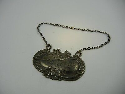 """Antique Sterling Silver Decanter Tag  Gin-Vodka """"35"""""""