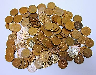 Circulated 1 lb. Lot of 98% Copper Canadian One Cents