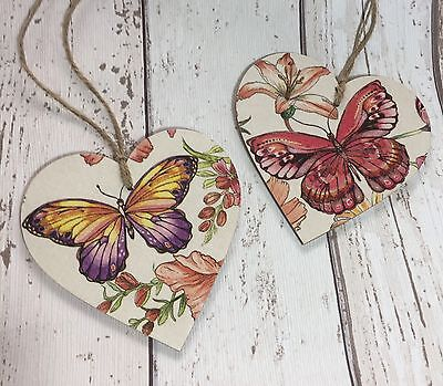 Pair Of Butterfly Wooden Hearts 10cm Door Hanger Keepsake Gift Home