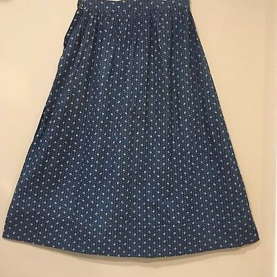 Vtg Antique Primitive Blue Calico Fabric Women's Skirt Early 1900s Hand Stitched