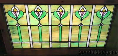 "Antique 1920's Stained Leaded Glass Transom Window 44"" by 23"""