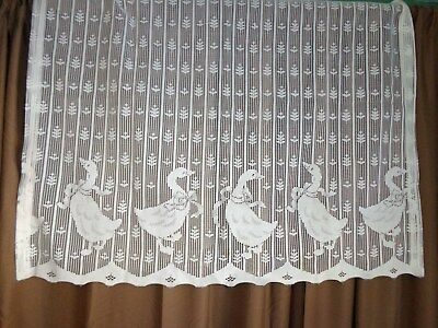 Vintage Antique Lace Curtains 2 PANEL Duck lovers Farm HOUSE Kitchen 36 W x 30 L