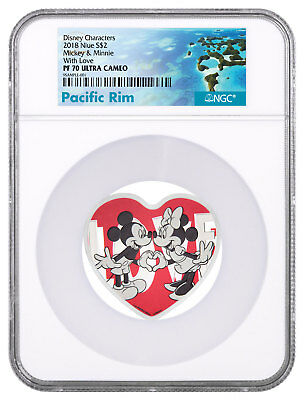 2018 Niue Disney Love Heart Shaped 1 oz Silver Proof $2 NGC PF70 UC SKU52028