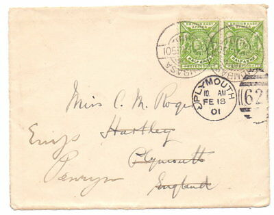 BRITISH EAST AFRICA 1901 COVER FRONT TO UK ( RE-DIRECTED ) 2 x ½a