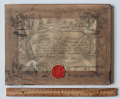 Antique New York Marine Society Member Certificate/Wax Seal/Dated October 1828