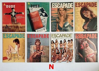 Lot of 8 Issues of Vintage Adult Men's Magazines Set #N Dude, Escapade 1957-1968