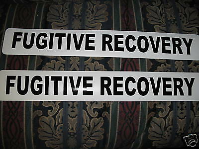 FUGITIVE RECOVERY Magnetic signs 4 Car Truck Badge Van