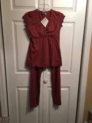 NWT Majamas 'The Genna' Maternity Pajama Lounge Set Nursing Sz M Medium Picante