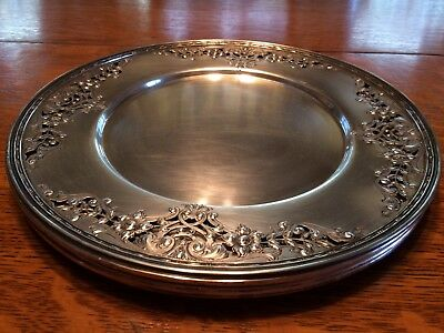 International Sterling Silver 4 Chargers Ornate Pierced/Reticulated Design Edge