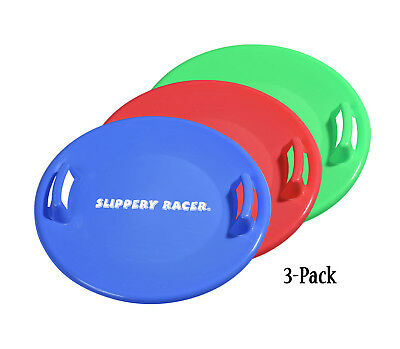 Slippery Racer Downhill Pro Disc Winter Saucer Snow Sled - 3 PACK