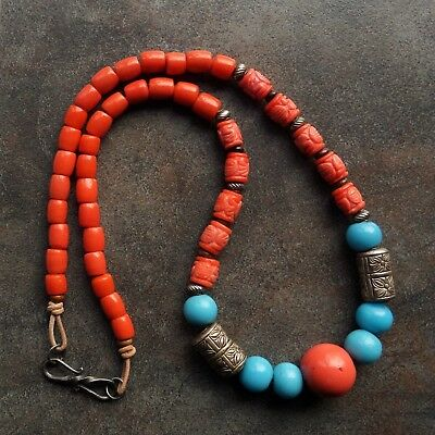 Hard to Find Vintage Chinese Carved Salmon Coral Glass Beads Necklace