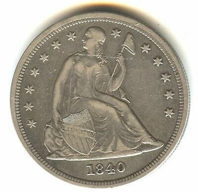 1840 Seated Liberty Dollar Xf In Grade Scarce Philadelphia Mint Issue