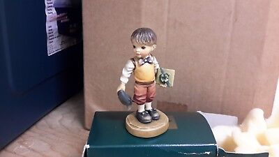 Anri Italian Wood Carving Boy with  Cap and Gift  in Hands by Sara Kay
