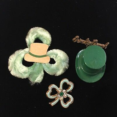 Vtg Lot St Patrick's Day Party Favor Pins Leprechaun Hat Irish Dangle Pin & More