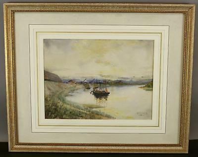 Antique Wesseling Maritime Sailboat Harbor Coastal Seascape Watercolor Painting