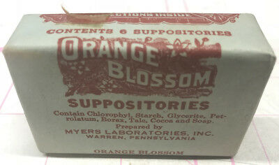 Vintage NOS Quack Medicine- ORANGE BLOSSOM SUPPOSITORIES Myers Vaginal