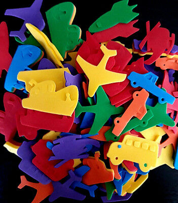 50 Foam Transport Shapes - Assorted Colours -50mm- Car, Plane, Bus, Boat + More