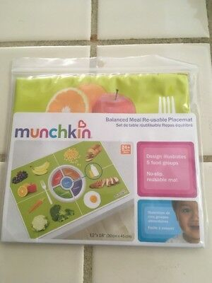 MUNCHKIN Balanced Meal REUSABLE PLACEMAT Healthy Eating Habits 24+ MONTHS New!