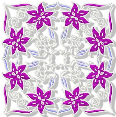 Purple Lilies Blocks  12 Machine Embroidery Designs Cd 3 Sizes