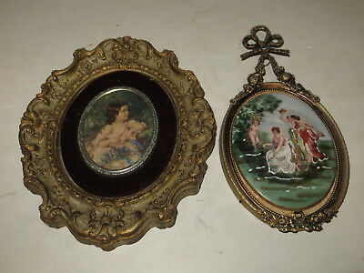 % Lot Of 2 Victorian Style Hanging Wall Print & Painted Porcelain %
